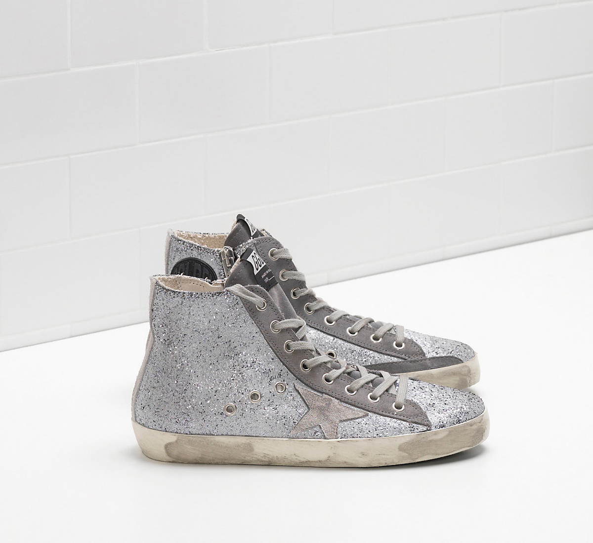 Golden Goose DB Francy Sneakers In Slightly Matte Effect Glitter-coated Calf Leather With Suede Star