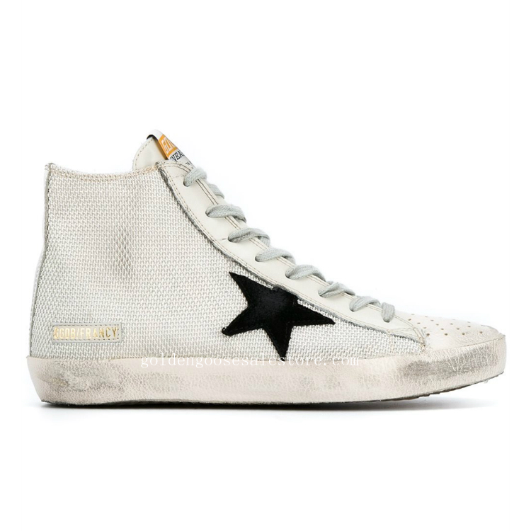 Golden Goose Deluxe Brand Francy Hi Top Sneakers Grey Cotton Leather And Suede