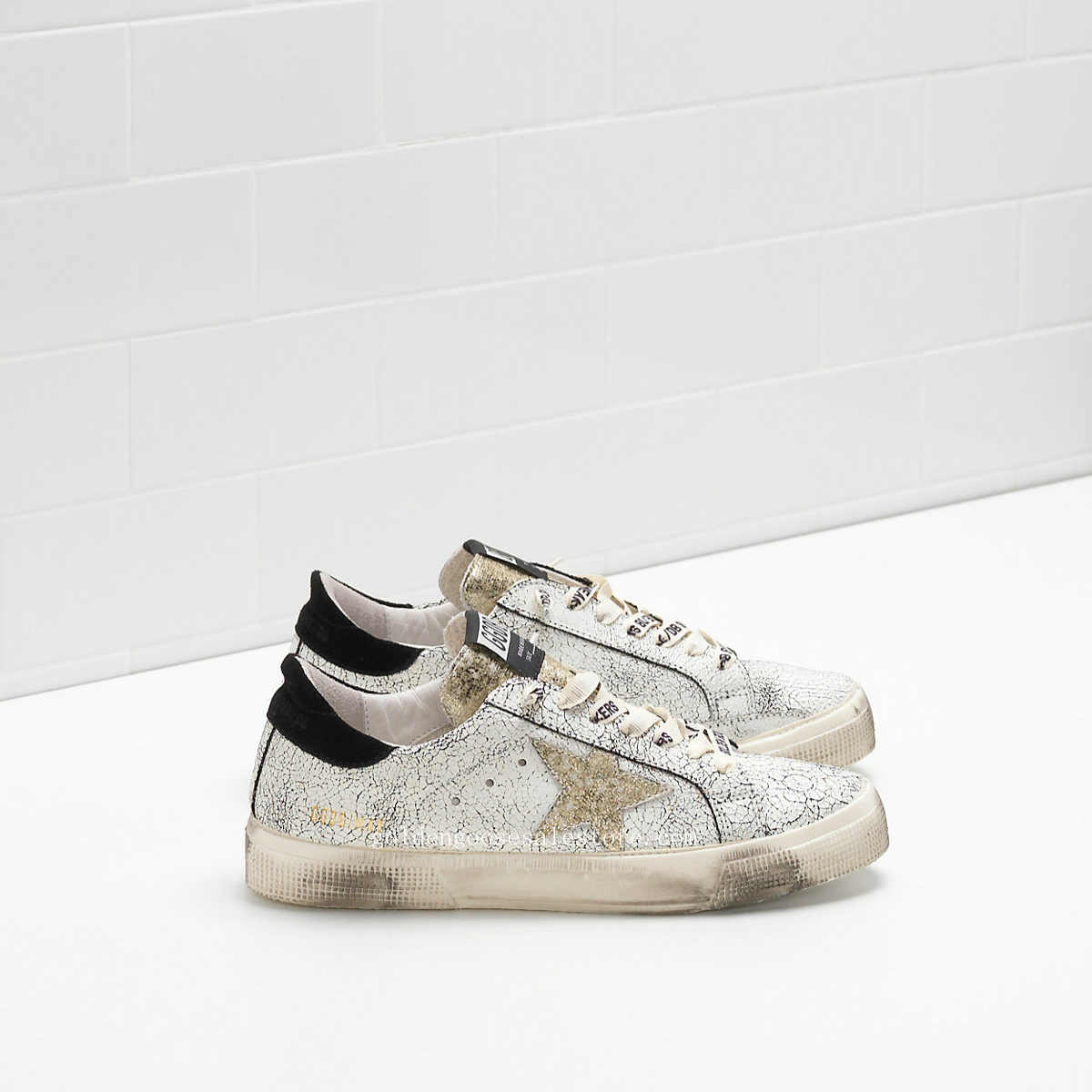 Golden Goose Deluxe Brand May Sneakers In Laminated Python Effect Leather With Gold Star G30WS127E14