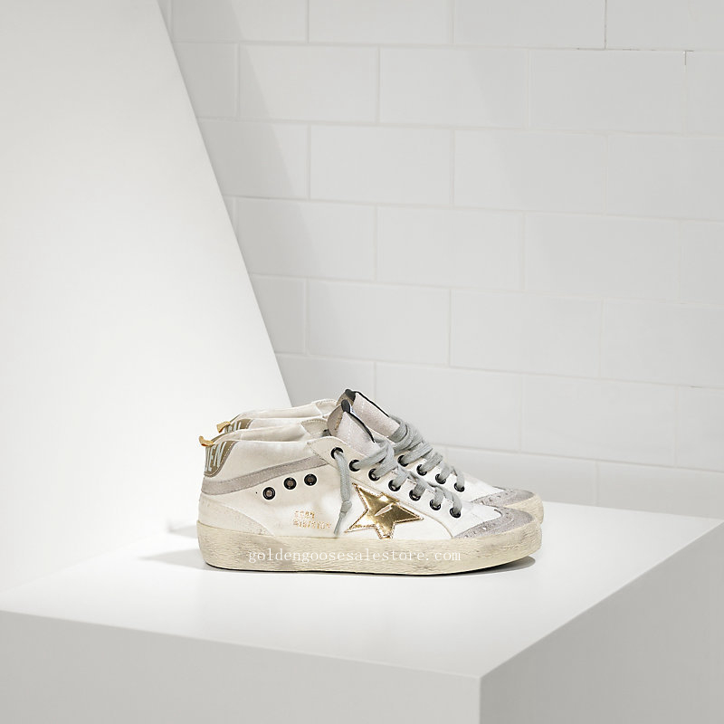 Golden Goose Deluxe Brand Men Mid Star Sneakers In White Grey With Gold Star