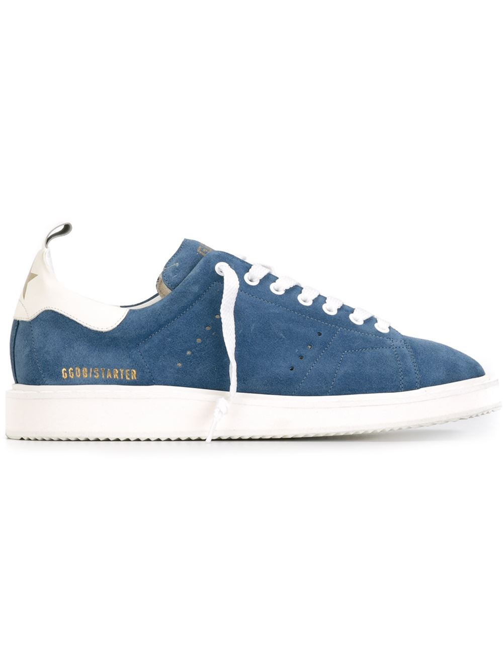 Golden Goose Men Starter Sneakers In Lake Blue Suede With White Leather