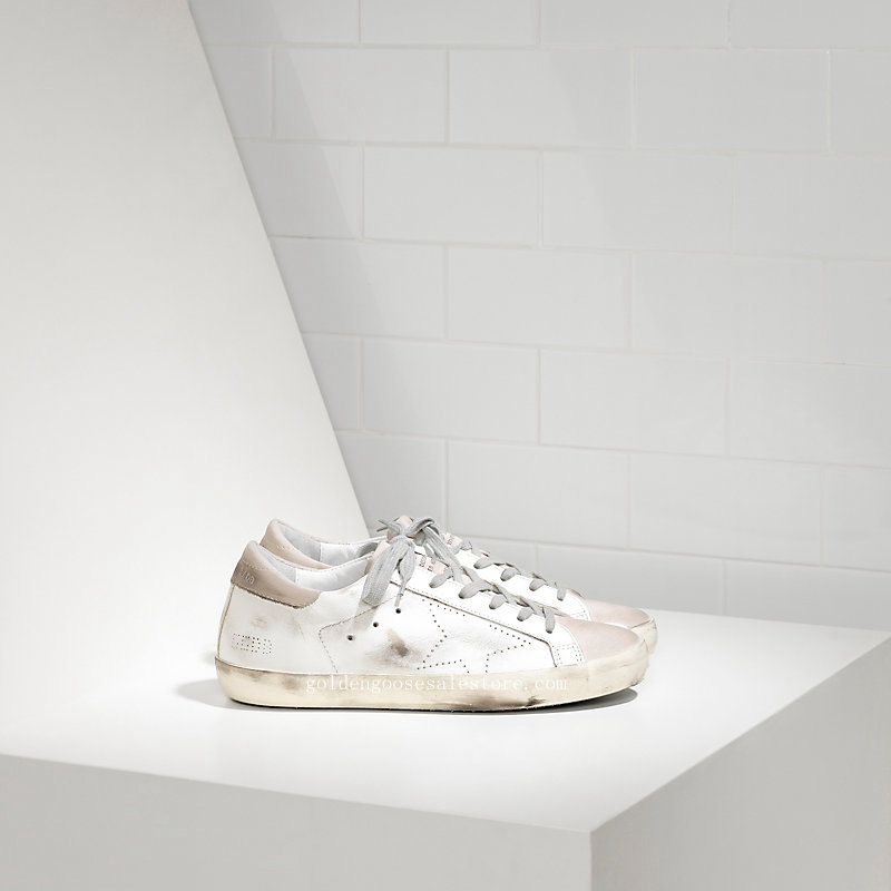 Golden Goose Deluxe Brand Men Super Star Sneakers In Leather With Openwork Star MGGS590A5