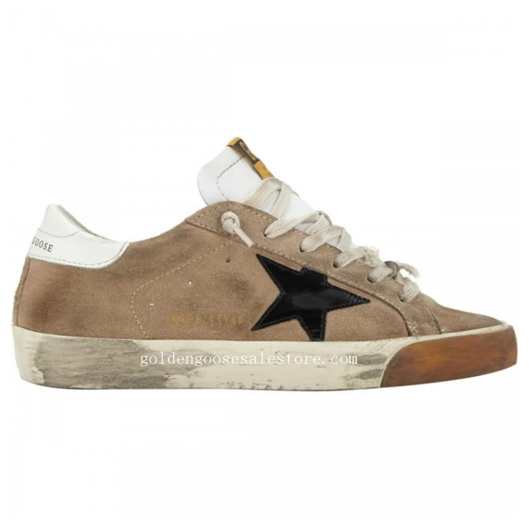 Golden Goose Deluxe Brand Men Superstar Sneakers In Brown Suede And Black Star