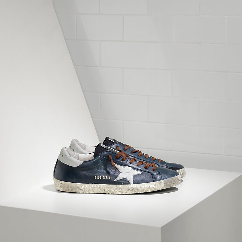 Golden Goose Deluxe Brand Super Star Sneakers In Leather With Leather Star G29MS590A71