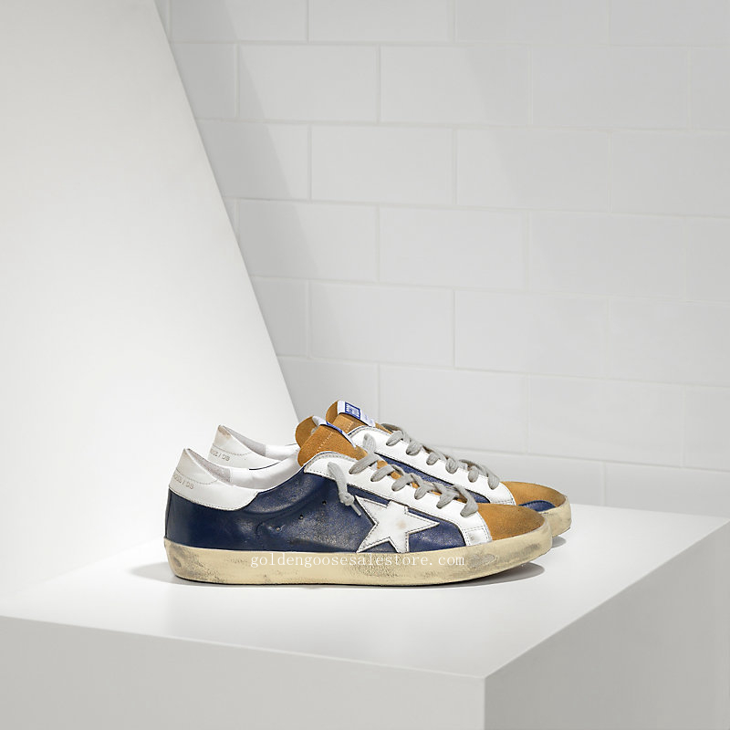 Golden Goose Deluxe Brand Super Star Sneakers In Leather With Leather Star MS590E28