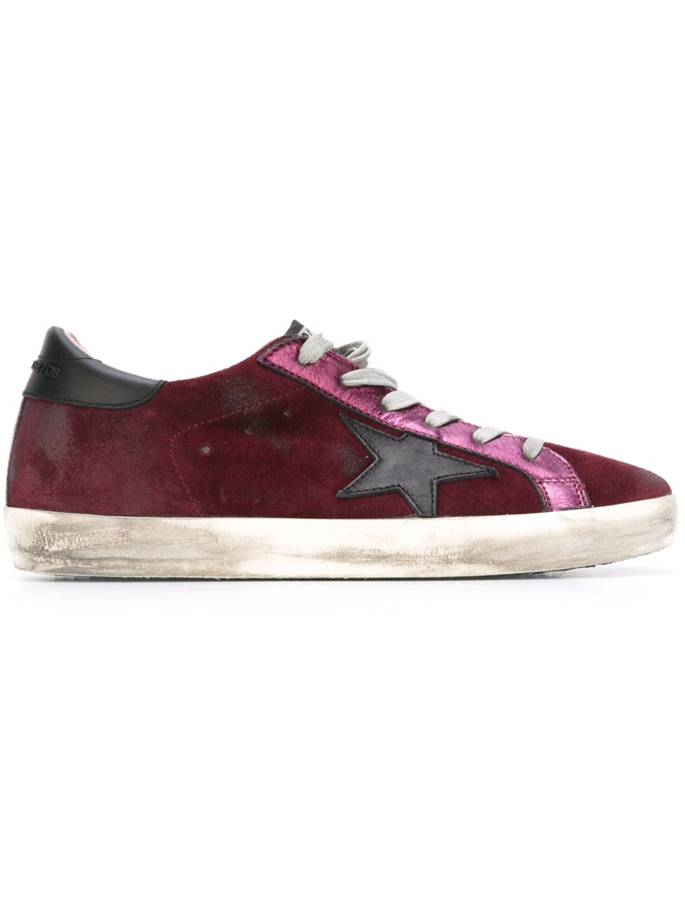 Golden Goose Super Star Sneakers In Maroon Suede With Black Leather Star