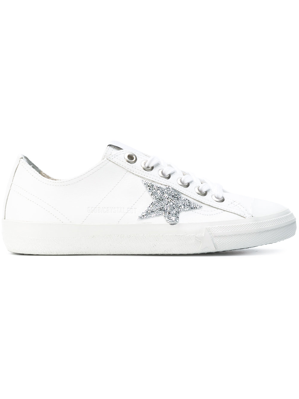Golden Goose Superstar Sneakers In White Leather With Crystal Edition Star