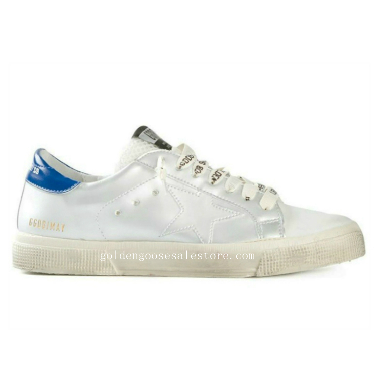 Golden Goose Deluxe Brand Women May Sneakers In Pelle Star With Blue