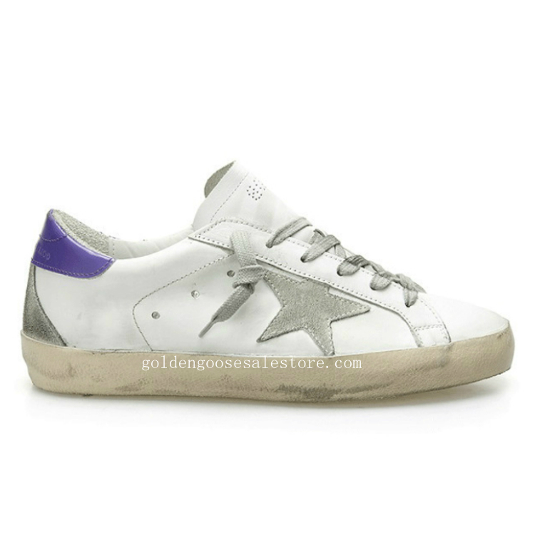 Golden Goose Deluxe Brand Women Superstar Sneakers In White Leather and Suede Star With Purple