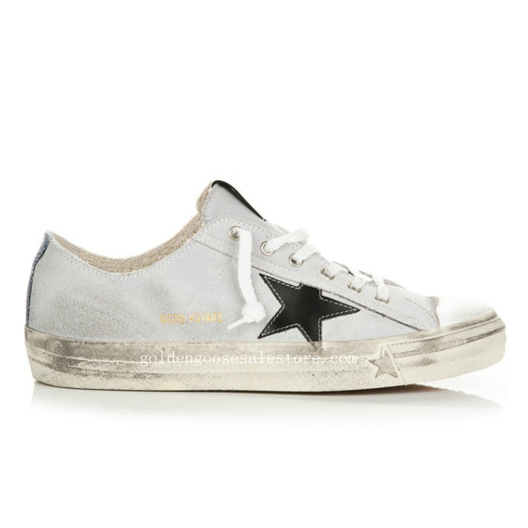 Golden Goose Deluxe Brand Women V Star Sneakers In Cream Suede Black Star