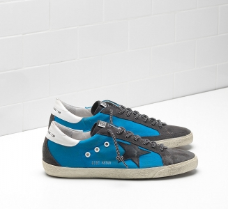 Golden Goose DB Super Star Sneakers In Blue Cotton Canvas With Leather Star