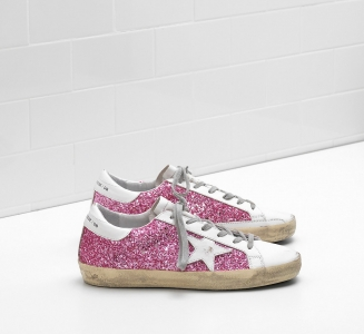 Golden Goose DB Super Star Sneakers In Pink Glitter-coated Fabric With White Leather Star