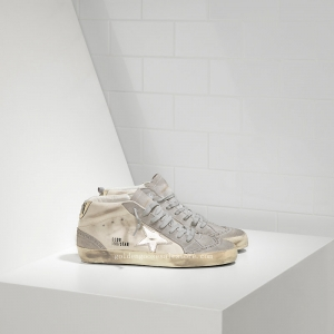 Golden Goose Deluxe Brand Mid Star Sneakers In Leather With Leather Star