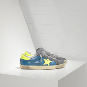 Golden Goose Deluxe Brand Super Star Sneakers In Leather With Fluo Leather Star