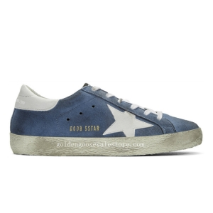 Golden Goose Deluxe Brand Super Stars Sneakers in Blue Suede and White Star GGS211132