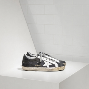 Golden Goose Deluxe Brand Women Super Star Sneakers In Denim With Leather Star G29WS590F46