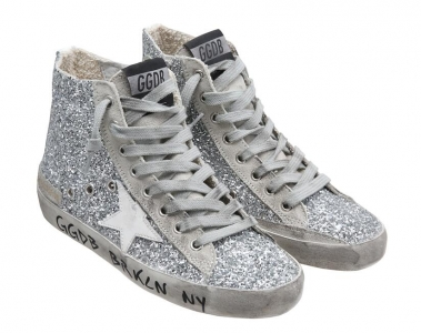 Golden Goose Deluxe Brand Womens Francy Sneakers In Silver Glitter With White Leather Star